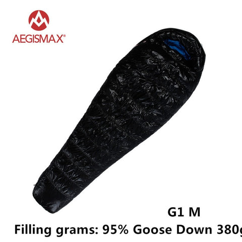 AEGISMAX 95% White Goose Down Mummy Camping Sleeping Bag Cold Winter Ultralight Baffle Design Camping Splicing FP800 G1-G5