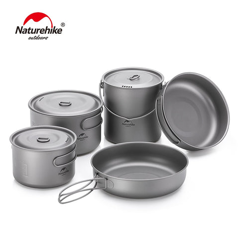Naturehike Titanium 2-3 Persons Tableware Outdoor Picnic Camping Cookware Pot Pan Ultralight Titanium Camping Cookware