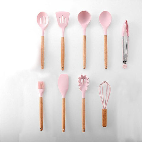 9PCS Silicone Kitchenware Non-stick Cookware Cooking Tool Spatula Ladle Egg Beaters Shovel Spoon Soup Kitchen Utensils Set