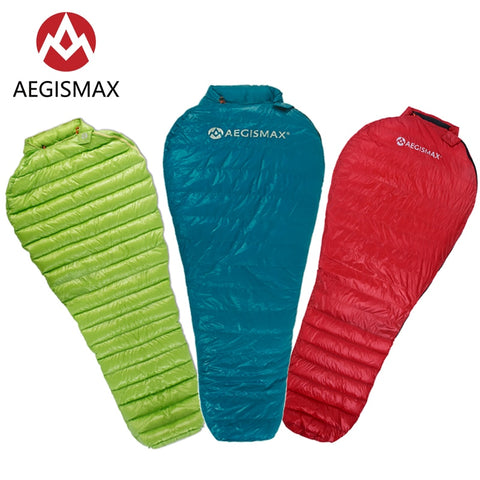 AEGISMAX Ultra-Light Adult Outdoor Camping Down Sleeping Bag Nylon Mummy Three Season Goose Down Sleeping Bag