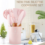 Pink Cooking Tools Set Premium Silicone Utensils Set Turner Tongs Spatula Soup Spoon Non-stick Shovel Oil Brush Kitchen Tool