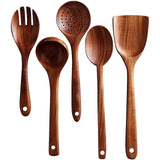 Wooden Utensils Set for Kitchen, Handmade Natural Teak Cooking Spoons Wooden Spatula for Nonstick Cookware (5 Sets)