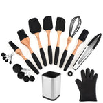 Silicone Wood Cooking Utensils Spatula Brush Scraper Pasta Server Gloves Egg Beater Black Kitchen Cooking Tools Kitchenware