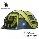 Large throw tent outdoor 3-4persons automatic speed open throwing pop up windproof waterproof beach camping tent large space