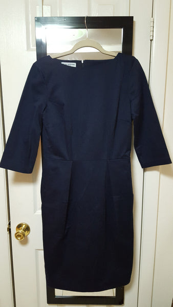 ELSA, Boat Neck, 3/4 Sleeve, Navy Sateen (2)