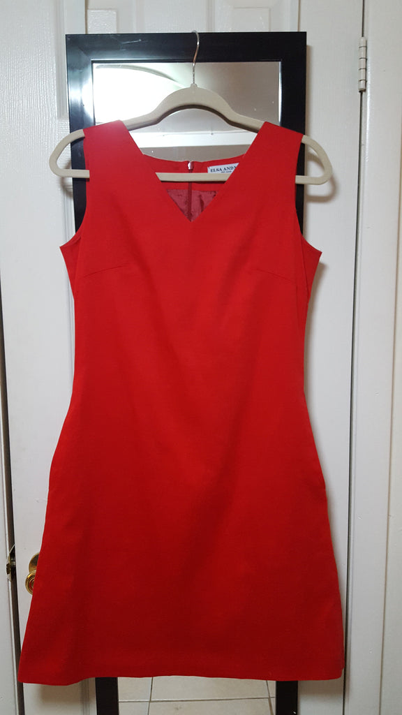 IDA, V-Neck, Sleeveless, Red Sateen