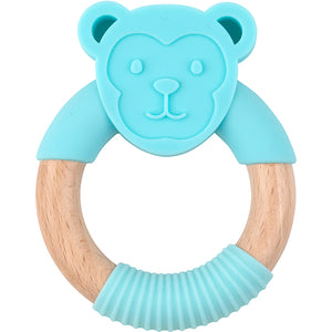 Load image into Gallery viewer, Oeko Teether Monkey Blue