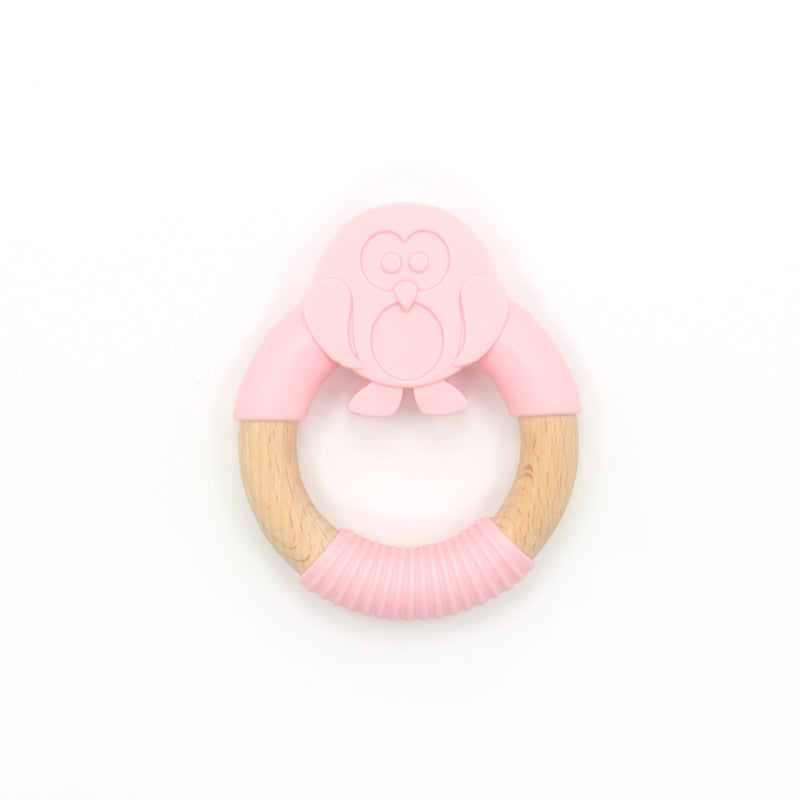 Oeko Teether Penguin Pink