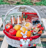 Christmas Special : Fruit Basket B (Oval Willow White/Red)-Eat Fresh SG