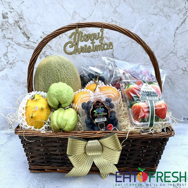 Christmas Special : Fruit Basket A (Rect Willow Brown)-Eat Fresh SG