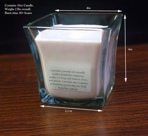 Lavender Essential Oil Square Glass Therapeutic Soy Candle - Woods Imagery