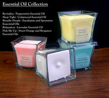 Load image into Gallery viewer, Lavender Essential Oil Square Glass Therapeutic Soy Candle - Woods Imagery