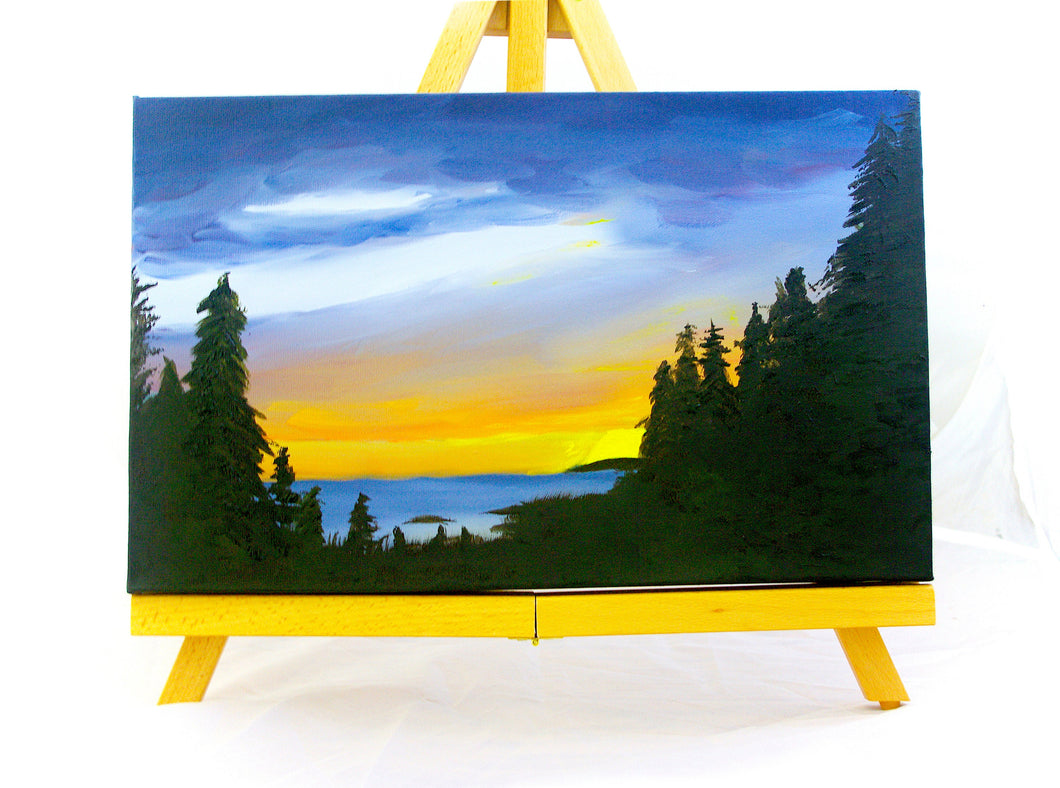 Lake Superior Sunset Landscape Oil Painting on Canvas - Woods Imagery