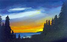 Load image into Gallery viewer, Lake Superior Sunset Landscape Oil Painting on Canvas - Woods Imagery
