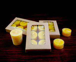 Beeswax Tea light Candles - 6 Pack gift box made with Canadian Beeswax - Woods Imagery