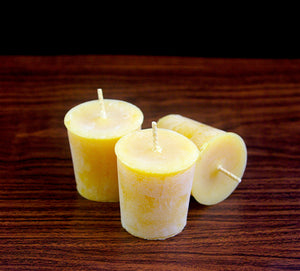 Beeswax Votive Candles - Gift Box Pack of 3 - Canadian 100% Pure Beeswax - Woods Imagery