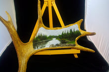 Load image into Gallery viewer, Original Oil Painting Landscape on Canadian Moose Antler - Woods Imagery