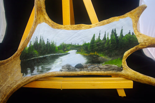 Original Oil Painting Landscape on Canadian Moose Antler - Woods Imagery
