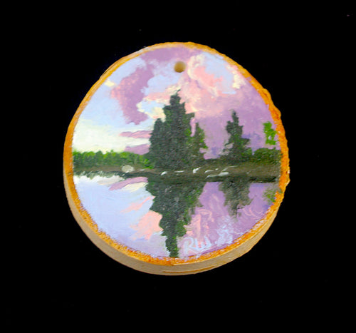 Oil Painting on Wood birch slice - Hand painted Ornament - Woods Imagery