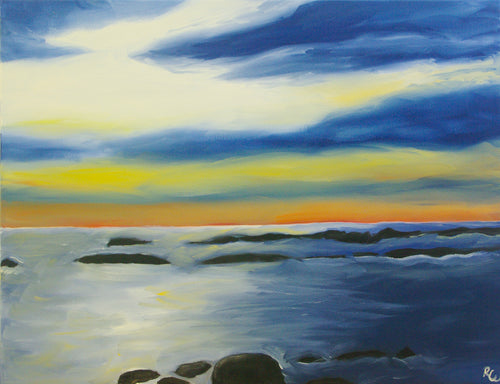 Lake Superior Sunset Landscape Oil Painting - Woods Imagery