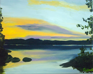 Tukanee Lake Sunset Oil Painting - Woods Imagery