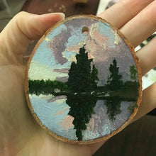 Load image into Gallery viewer, Oil Painting on Wood birch slice - Hand painted Ornament - Woods Imagery