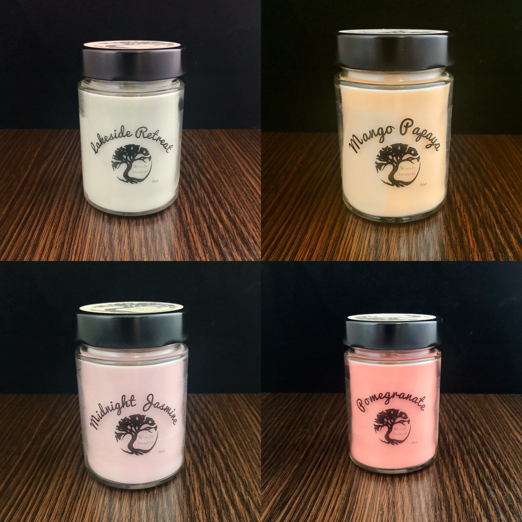 Mix and Match 4 Soy Wax Candles in Glass Containers - 9 oz - 40+ Hour Burn Time each