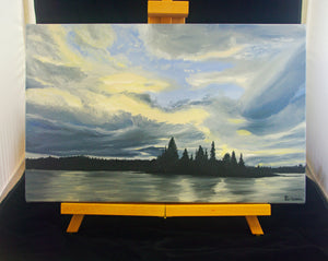 Landscape oil painting on Canvas - Tree silhouettes and Sunset Clouds - Northern Ontario, White Lake Provincial Park - Woods Imagery