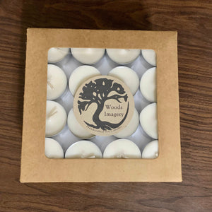 Unscented Soy Wax Aluminum Tea Lights - bulk gift box of 64 - Woods Imagery