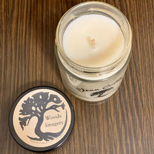 Clean Cotton Scented Soy Wax Candle in Glass Container - 9 oz size with 40+ Hour Burn Time - Woods Imagery