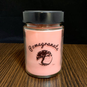 Pomegranate Scented Soy Wax Candle in Glass Container - 40+ Hour Burn Time - 9 oz Candle