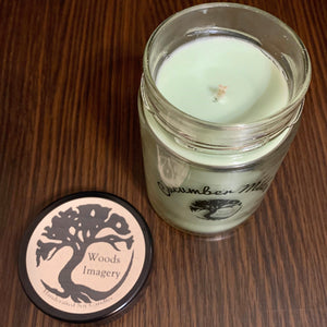 Cucumber Melon Scented Soy Wax Candle in Glass Container - 9 oz size with 40+ Hour Burn Time - Woods Imagery