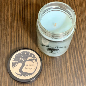 Eucalyptus Spearmint Scented Soy Wax Candle in Glass Container - 9 oz Candle with 40+ Hour Burn Time - Woods Imagery