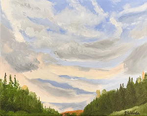 Sunset clouds on the road home Landscape Oil Painting - Woods Imagery