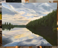 Load image into Gallery viewer, Landscape oil painting on Canvas -  Lake near Temagami, Ontario - Woods Imagery