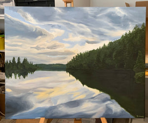 Landscape oil painting on Canvas -  Lake near Temagami, Ontario - Woods Imagery