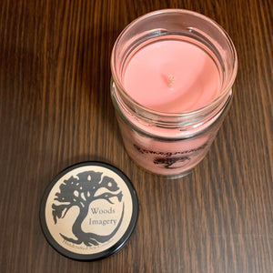 Pomegranate Scented Soy Wax Candle in Glass Container - 9 oz with 40+ Hour Burn Time - Woods Imagery