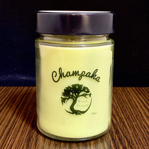 Champaka Scented Soy Wax Candle in Glass Container - 9 oz size with 40+ Hour Burn Time - Strong Floral Scent - Woods Imagery