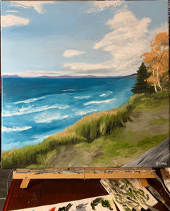 Landscape oil painting on Canvas - Lake Superior at Pebble Beach, Marathon - Woods Imagery