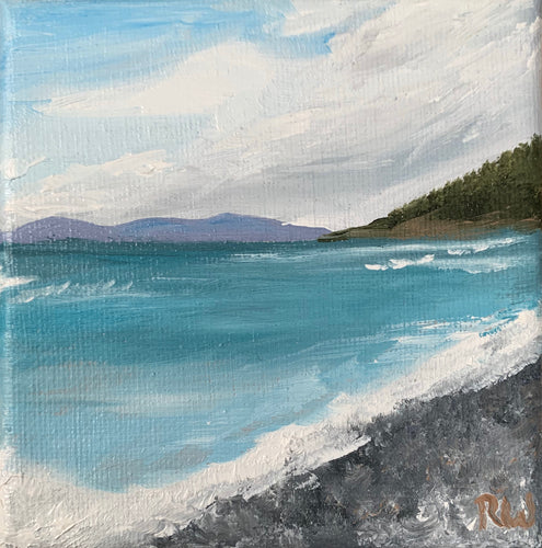 Landscape oil painting on Canvas - Pebble Beach in Marathon, Ontario - Woods Imagery