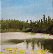 Load image into Gallery viewer, Small Lake Superior Reflection Oil Painting on Canvas - Woods Imagery