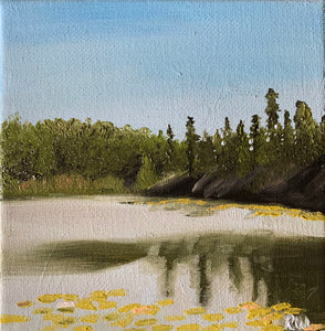 Small Lake Superior Reflection Oil Painting on Canvas - Woods Imagery