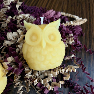 Beeswax Votive Candle - Canadian 100% Pure Beeswax Mini owls and pinecone Gift Box of 3