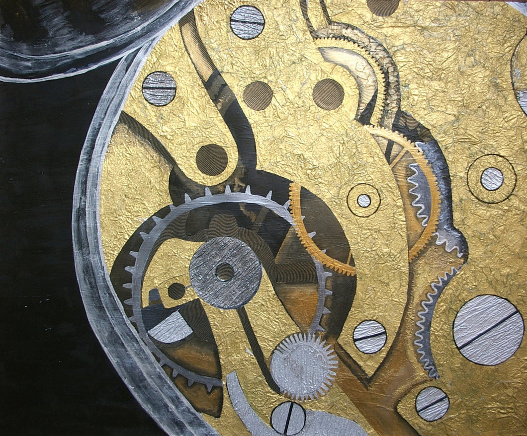 Pocket Watch Paper Collage Artwork - Original Mixed Media Artwork - Woods Imagery