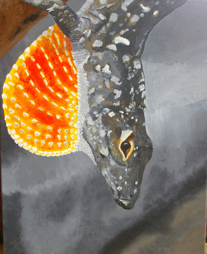 Acrylic Painting on canvas - Anole Lizard from Florida - Woods Imagery