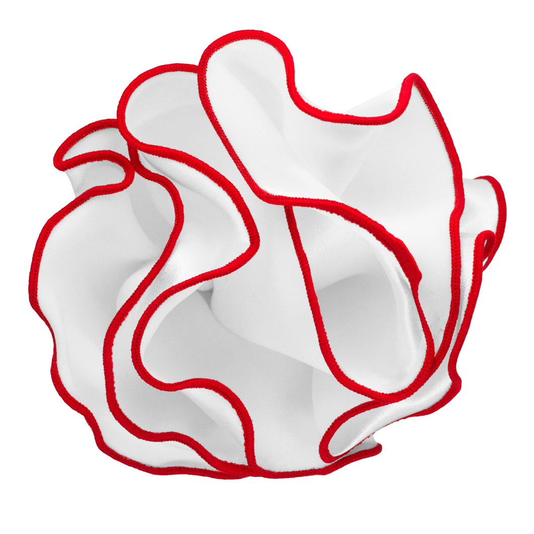 White with Red Trim Round Handkerchief