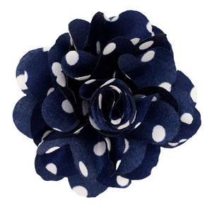 Navy/White Men's Polka Dot Lapel Pin Flower