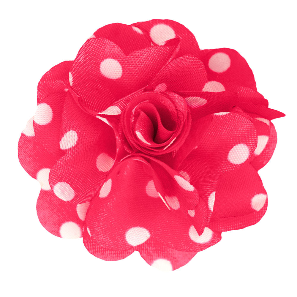 Bubblegum Pink/White Men's Polka Dot Lapel Pin Flower