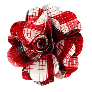 Red Plaid Lapel Pin Flower