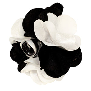Black/White Men's Two Tone Lapel Pin Flower